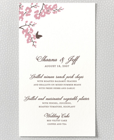 Shangri-La Letterpress Menu Card