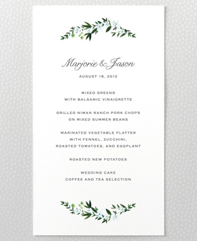Southern Belle Menu Card