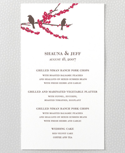 Sparrows Letterpress Menu Card