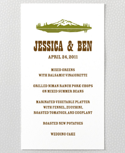 Tahoe Letterpress Menu Card