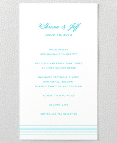 Tides  Menu Card