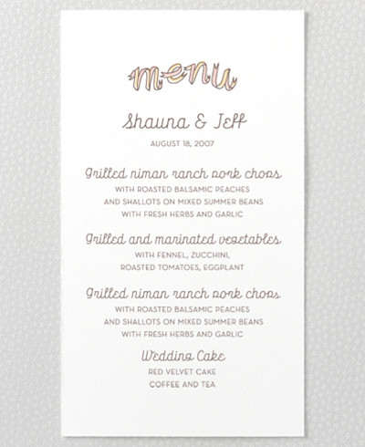 Tie The Knot Letterpress Menu Card