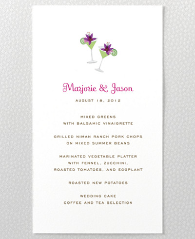 Tropical Paradise Menu Card