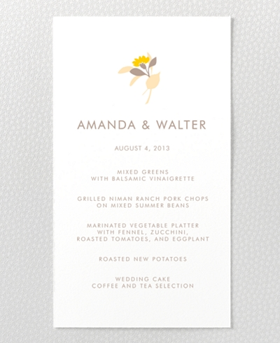 Tropic Letterpress Menu Card