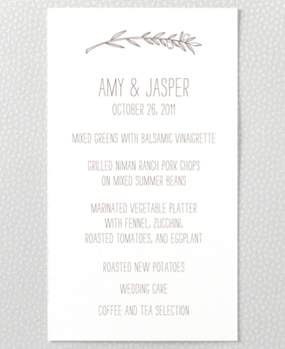 Tuscany Letterpress Menu Card