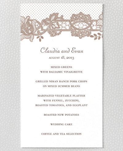 Vintage Lace Letterpress Menu Card