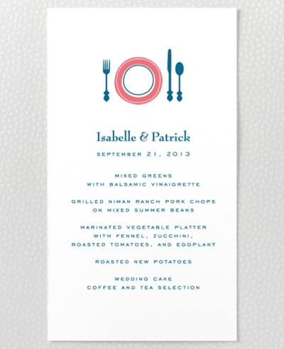 Visit Washington, D.C. Letterpress Menu Card