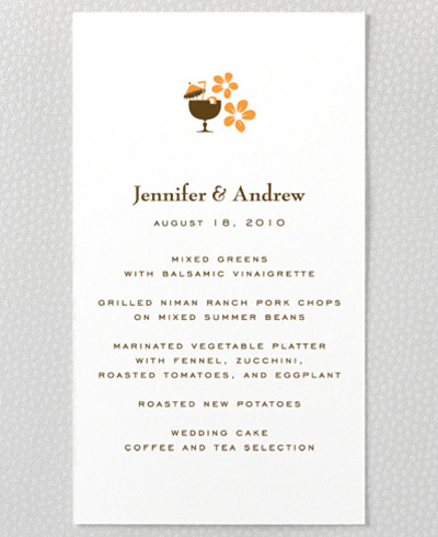 Visit Hawaii Letterpress Menu Card