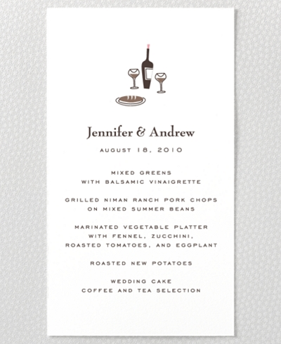Visit Paris Letterpress Menu Card