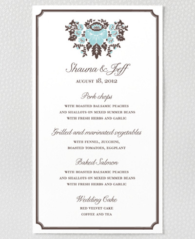 Woodland Damask Letterpress Menu Card
