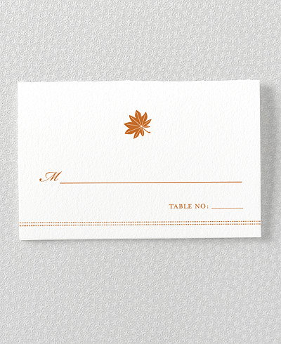 Autumn Leaves Letterpress Place Card