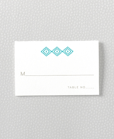 Cross Stitch Letterpress Place Card
