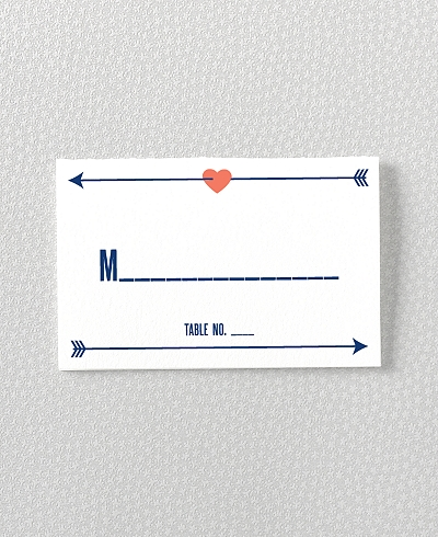 Hearts and Arrows Letterpress Place Card