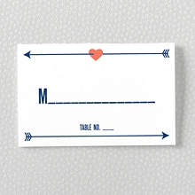 Hearts and Arrows---Letterpress Place Card