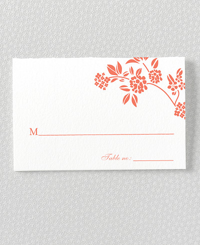 Honeysuckle Letterpress Place Card