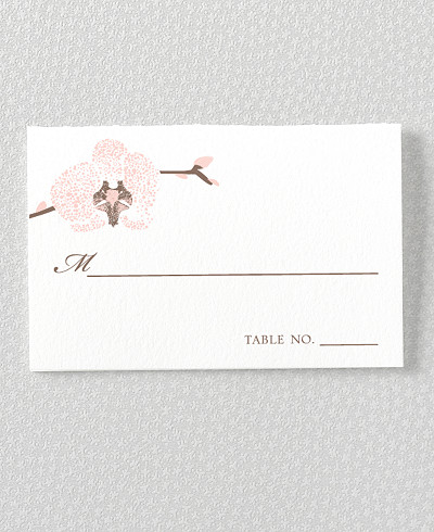 Orchid Letterpress Place Card