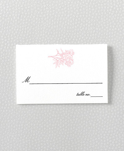 Peonies Letterpress Place Card