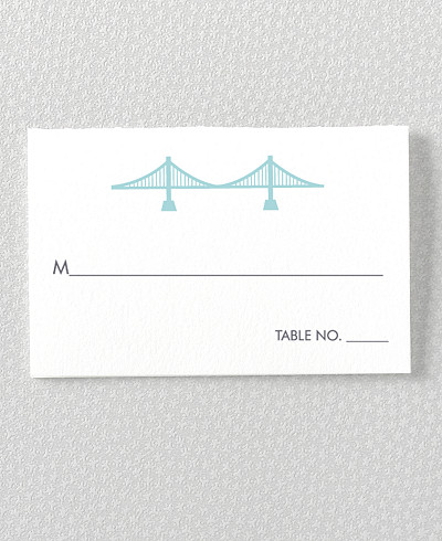 San Francisco Skyline Letterpress Place Card