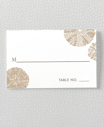 Seashore Letterpress Place Card