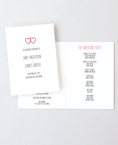 Big Day Hearts Letterpress Folded Program
