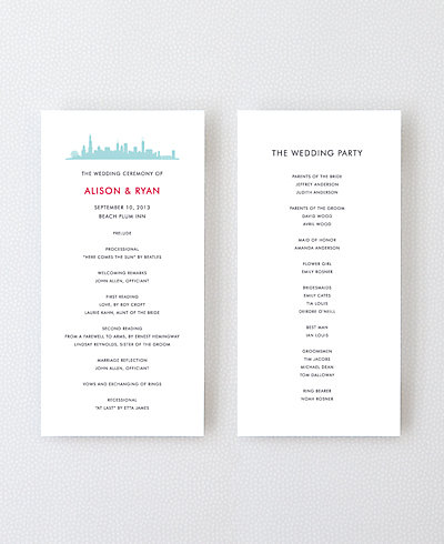 Chicago Skyline Letterpress Program