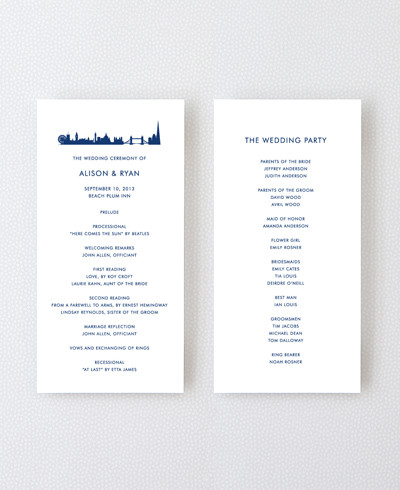 London Skyline Letterpress Program