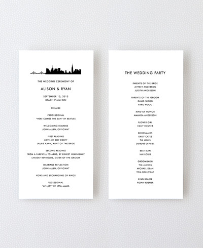 New York City Skyline Letterpress Program