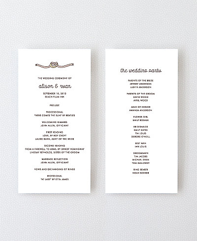Tie the Knot Letterpress Program