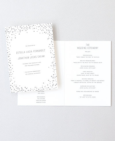 Shooting Star Foil/Letterpress Folded Program