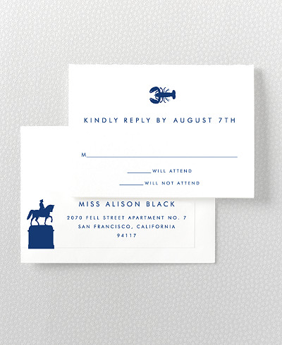 Boston Skyline RSVP Card