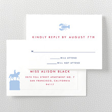 Boston Skyline---Letterpress RSVP Card