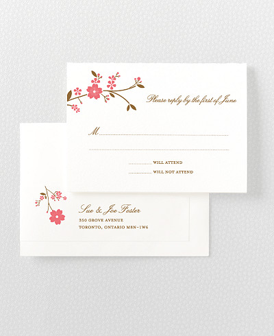 Cherry Blossom Letterpress RSVP Card