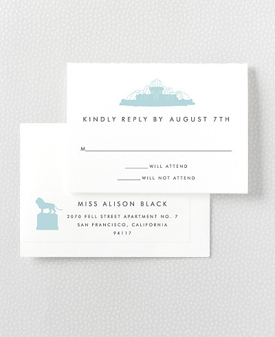 Chicago Skyline Letterpress RSVP Card