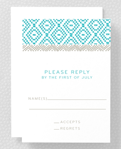 Cross Stitch Letterpress RSVP Card