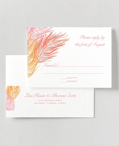 Feathers Letterpress RSVP Card