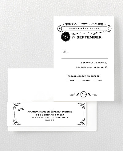 Flourish Letterpress RSVP Card