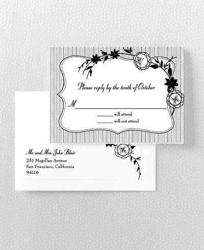 French Deco Letterpress RSVP Card