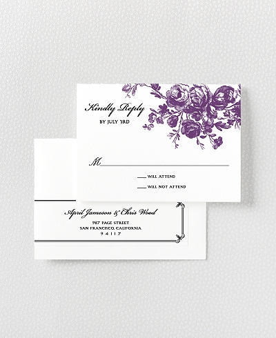 Gothic Rose Letterpress RSVP Card