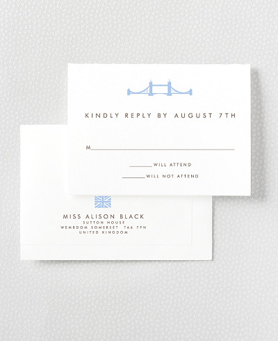 London Skyline Letterpress RSVP Card