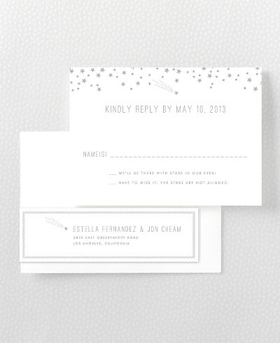 Shooting Star Foil/Letterpress RSVP Card