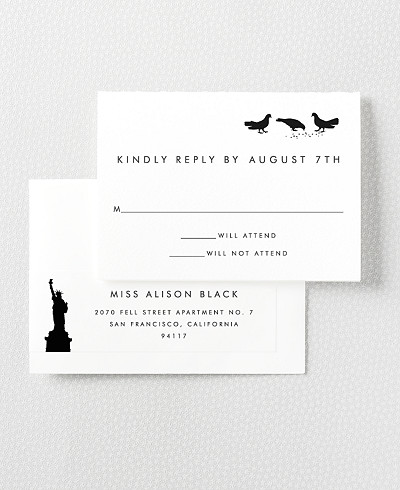 New York City Skyline Letterpress RSVP Card