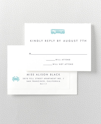 San Francisco Skyline Letterpress RSVP Card