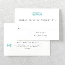San Francisco Skyline: Letterpress RSVP Card