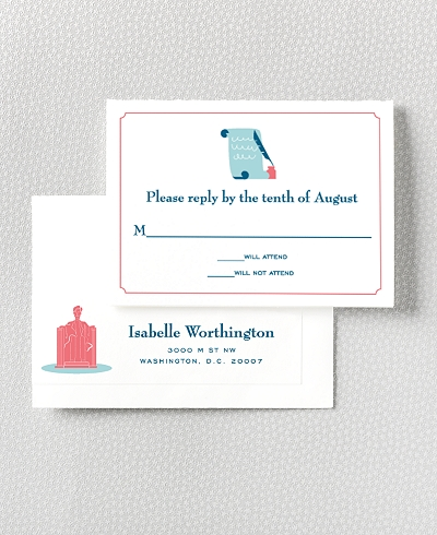 Visit Washington, D.C. Letterpress RSVP Card