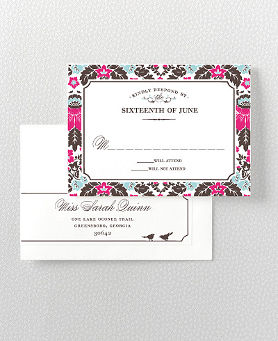 Woodland Damask RSVP Card