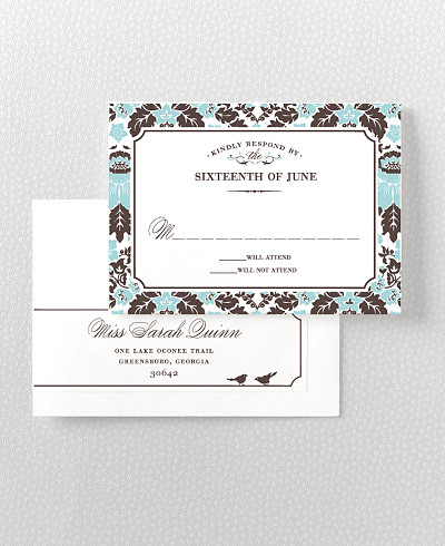 Woodland Damask Letterpress RSVP Card