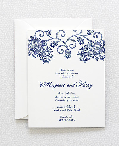 Duchesse Letterpress Rehearsal Dinner Invitation