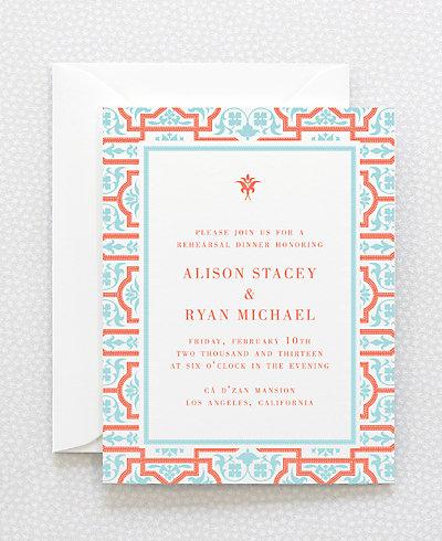 Architecture Letterpress Rehearsal Dinner Invitation