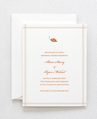 Autumn Leaves Letterpress Rehearsal Dinner Invitation