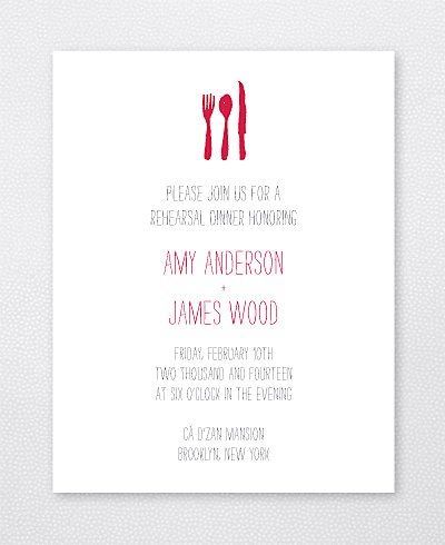 Big Day Brooklyn Letterpress Rehearsal Dinner Invitation